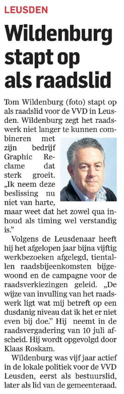 Tom Wildenburg in  Amersfoortse Courant